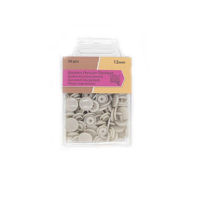 Boutons pression plastique x30 gris clair