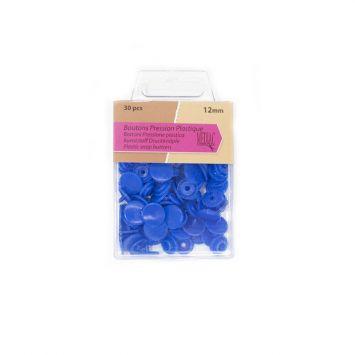 Boutons pression plastique x30 bleu