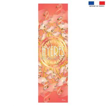 Coupon 45x150 cm tissu imperméable rose motif flamant rêve d'été pour transat - Création Lita Blanc