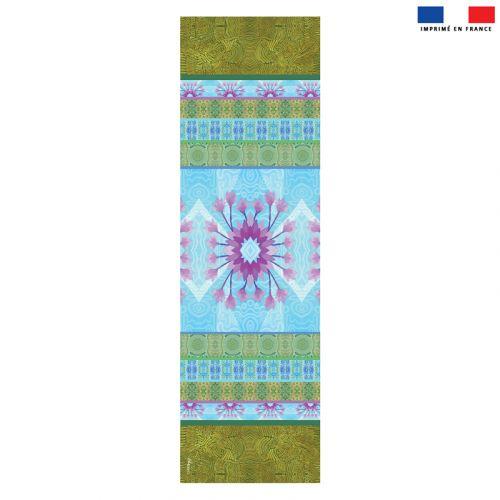 Coupon 45x150 cm tissu imperméable motif fleur ethnique mauve pour transat - Création Lita Blanc