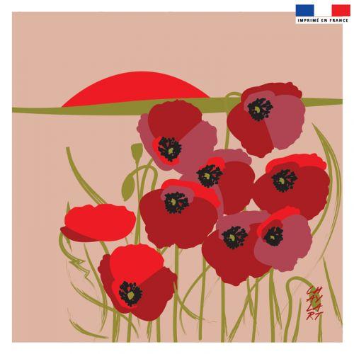 Coupon 45x45 cm motif champs de coquelicots - Création Chaylart
