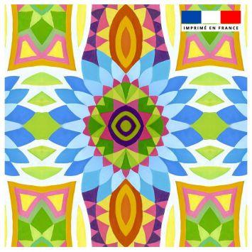 Coupon 45x45 cm multicolore motif fleur pétales bleus - Création Lita Blanc