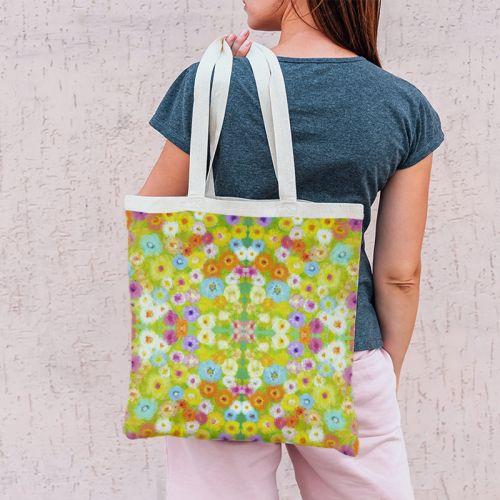 Coupon 45x45 cm multicolore motif fleurs effet peinture - Création Lita Blanc