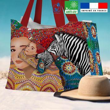 Kit sac de plage imperméable motif diva et zèbre - King size - Création Lita Blanc