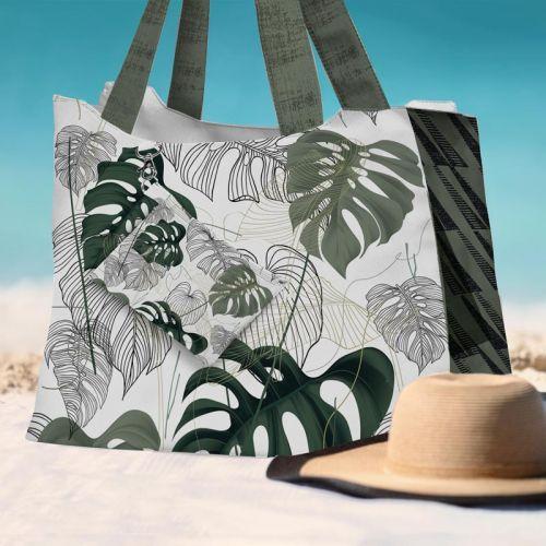 Kit sac de plage imperméable motif jungle vert - King size