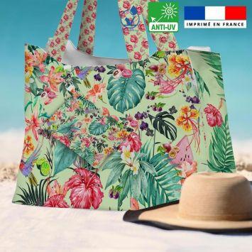 Kit sac de plage imperméable motif vert motif fruit tropical - Queen size
