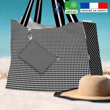 Kit sac de plage imperméable motif pied de poule - King size