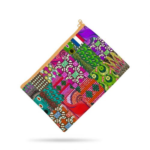 Kit pochette motif wax patchwork