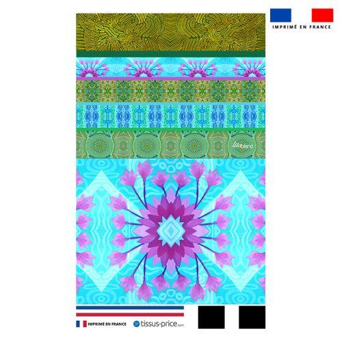 Kit pochette motif fleur ethnique mauve - Création Lita Blanc