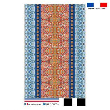 Kit pochette motif rayures abstraites bleues et rouges - Création Lita Blanc