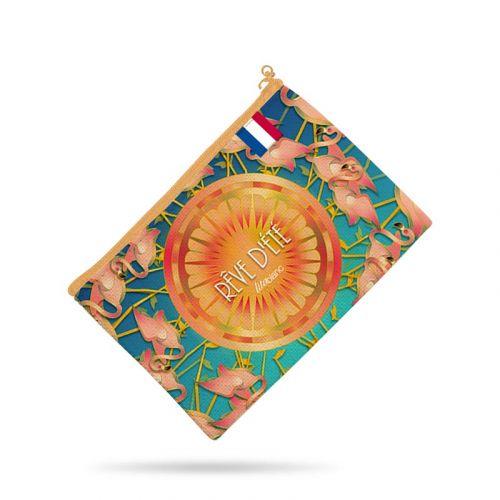 Kit pochette bleu motif flamant rêve d'été - Création Lita Blanc