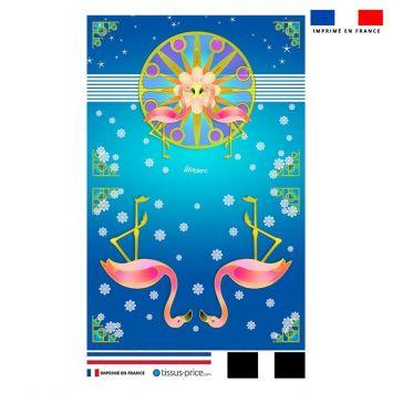 Kit pochette bleu motif duo de flamants roses - Création Lita Blanc