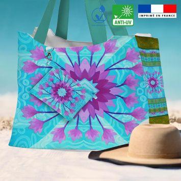 Kit sac de plage imperméable motif fleur ethnique mauve - Queen size - Création Lita Blanc