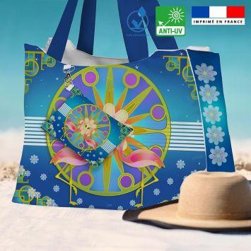Kit sac de plage imperméable bleu motif duo de flamants roses - King size - Création Lita Blanc.
