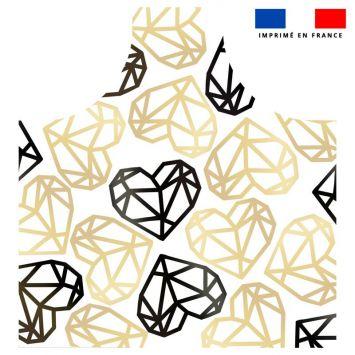 Patron imprimé sur canvas pour tablier motif coeur black & gold