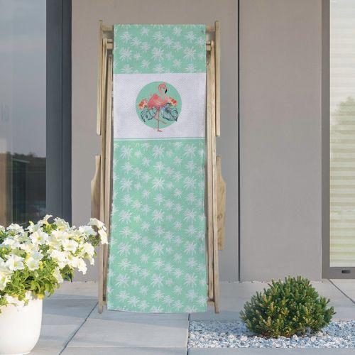 Coupon 45x150 cm tissu imperméable vert motif flamant et palmier pour transat
