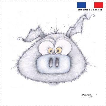 Coupon toile canvas cochon gris - Audrey Baudo
