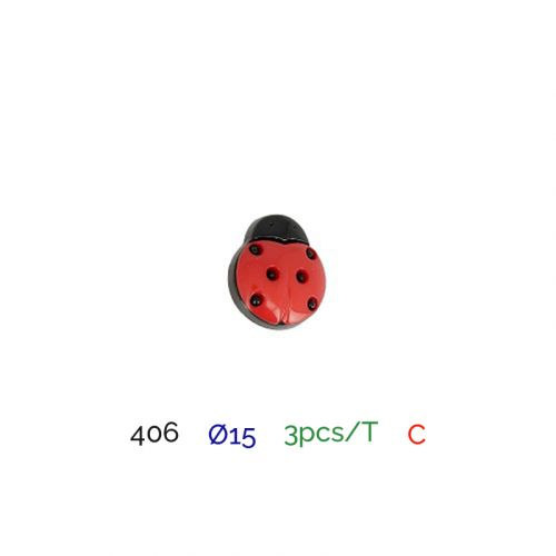 Bouton coccinelle rouge rond 2 trous 15mm