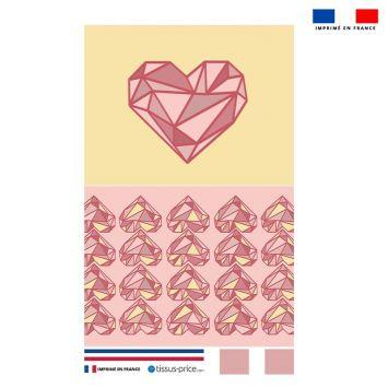 Kit pochette rose motif cœur géométrique