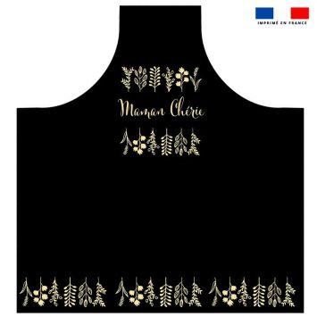 Patron imprimé sur canvas pour tablier motif maman chérie et feuilles gold