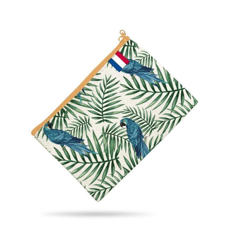 Kit pochette motif perroquet bleu et feuille tropicale