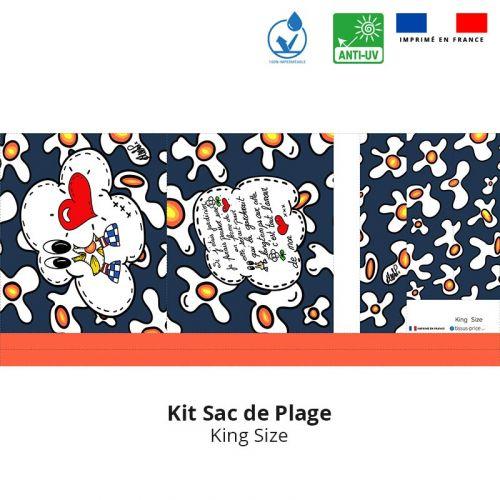 Kit sac de plage imperméable bleu motif poème - King size - Création Anne-Sophie Dozoul