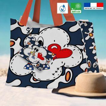 Kit sac de plage imperméable bleu motif poème - Queen size - Création Anne-Sophie Dozoul