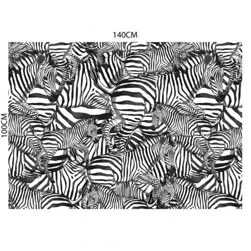 coupon - Coupon 100cm - Velours blanc motif zèbre noir - Création Lou Picault - Velours 322 gr/m² - 140 cm