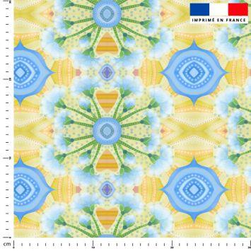Fleur symétrique jaune et bleue - Création Lita Blanc