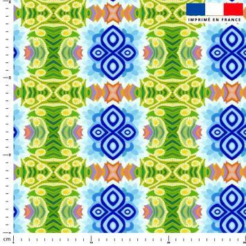 Fleur de lotus abstraite - Fond bleu - Création Lita Blanc