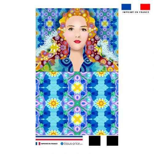Kit pochette bleu motif diva reine - Création Lita Blanc