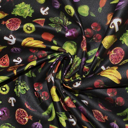 Coton enduit noir motif légumes de saison Oeko-tex