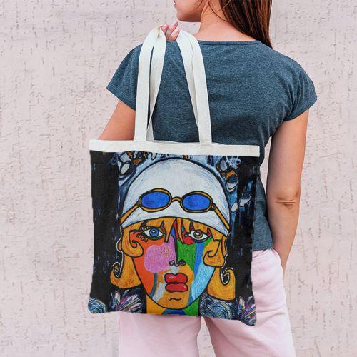 Coupon 45x45 cm motif femme moderne et lunettes colorées - Création Razowsky