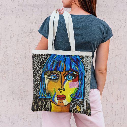 Coupon 45x45 cm motif femme moderne colorée - Création Razowsky