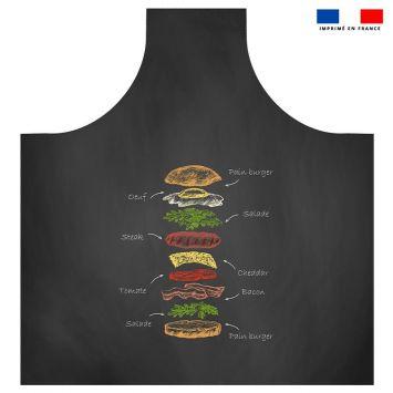 Patron imprimé sur canvas pour tablier motif burger