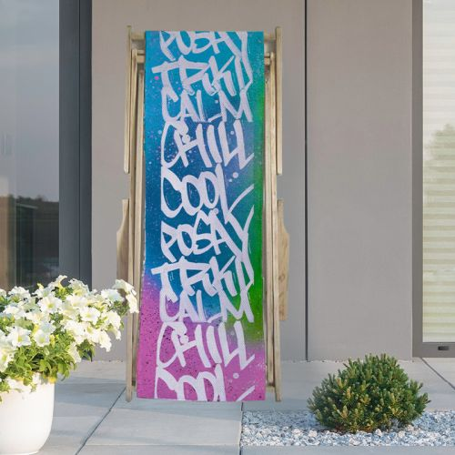 Coupon 45x150 cm tissu imperméable motif chill cool - Création Alex Z