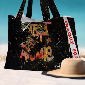Kit sac de plage imperméable motif street art avenue - King size - Création Alex Z