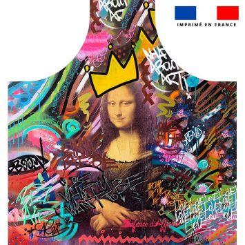 Patron imprimé sur canvas pour tablier motif graffiti portrait - Création Alex Z
