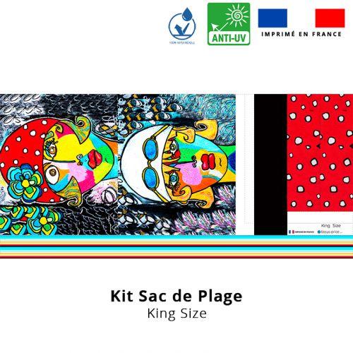 Kit sac de plage imperméable motif femme moderne et fleur colorée - King size - Création Razowsky