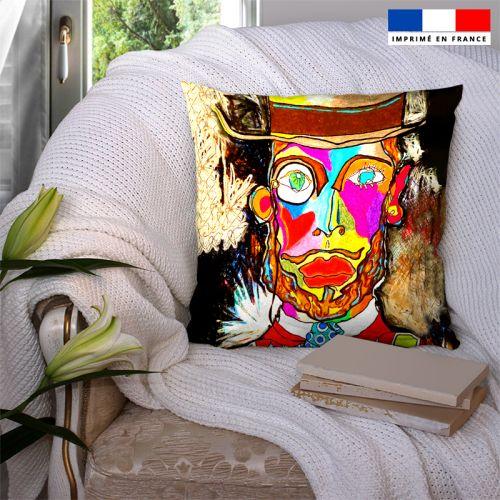 Coupon 45x45 cm motif homme et monocle - Création Razowsky