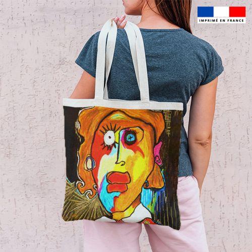 Coupon 45x45 cm motif femme et pois jaunes - Création Razowsky