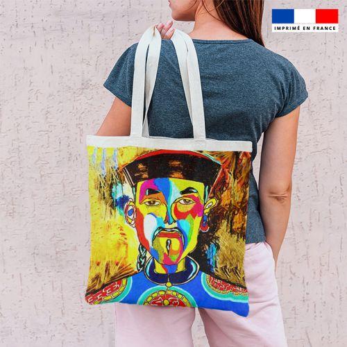 Coupon 45x45 cm motif portrait asiatique - Création Razowsky