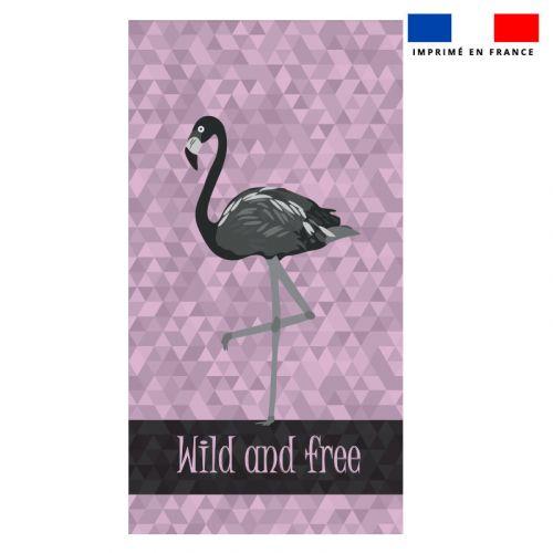 Coupon éponge pour serviette de plage simple violet motif flamant wild and free