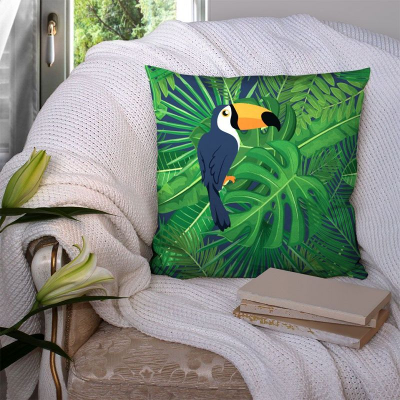 Coupon 45x45 cm vert motif toucan et feuille tropicale