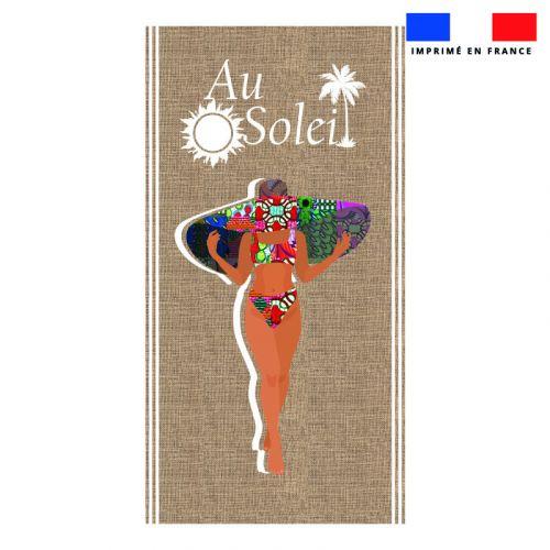 Coupon éponge pour serviette de plage simple motif au soleil