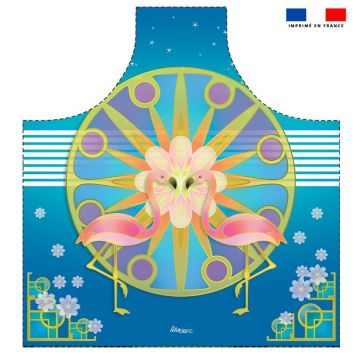 Patron imprimé sur canvas pour tablier motif duo de flamants roses - Création Lita Blanc