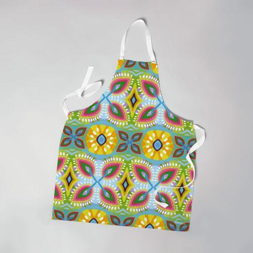Patron imprimé sur canvas pour tablier motif fleurs géométriques - Création Lita Blanc