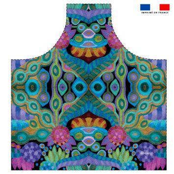 Patron imprimé sur canvas pour tablier motif symétrie abstraite - Création Lita Blanc