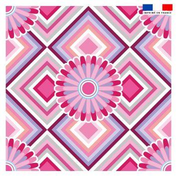 Coupon 45x45 cm motif rosace rose pastel - Création Lita Blanc