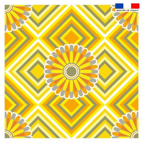 Coupon 45x45 cm motif rosace jaune - Création Lita Blanc